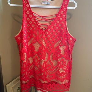 Red lace tank blouse
